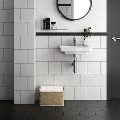 Bathroom Goals, Bathroom Inspo, Modern Bathroom, Downstairs Bathroom, Master Bathroom, Small Tiles, Bathroom Flooring, Sofa Design, Powder Room