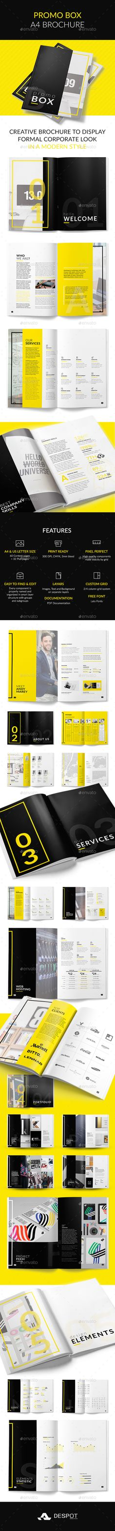 Promo BOX A4 Brochure Template PSD. Download here: https://graphicriver.net/item/promo-box-a4-brochure/17287203?ref=ksioks