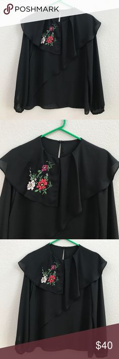 ❣️ZARA❣️PRETTY DOUBLE FRILL EMBROIDERED TOP❣️ ❣️ZARA❣️PRETTY DOUBLE FRILL EMBROIDERED TOP❣️LIKE NEW❣️EXCELLENT CONDITION❣️ONLY WORN ONCE❣️SIZE SM❣️TAG FELLL OFF❣️FITS LIKE A SM❣️ Zara Tops Blouses