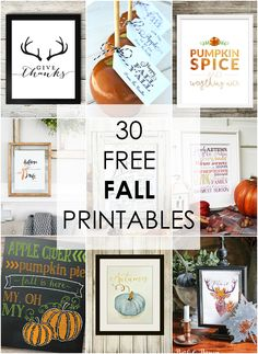 30 of THE BEST fall free printables! Love this one! http:ablissfulnest.com/ #freeprintable #falldecor