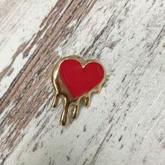 Enamel Dripping Heart Pin     eBay