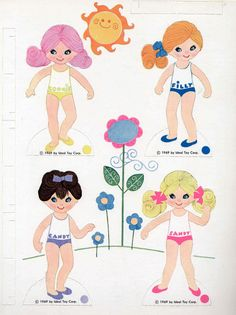 Vintage Whitman Ideal Toy Co Flatsy Paper Dolls 1970 Uncut Unused Mod Perfect | eBay