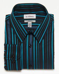 Cotton Stripe Tailored Fit Shirt  Black/Turquoise  $79.95