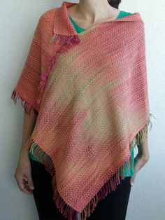 Poncho handwoven with hand dyed cotton. One by HandweavingbyMima