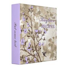 Vintage flowers purple, taupe floral recipe vinyl binders