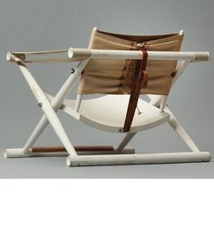 Mogens Lassen; Lacquered Oak, Canvas, Leather and Cord 'Egyptian Chair', 1930s.