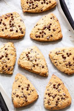 These paleo chocolate chip scones are flaky, soft and packed with mini chocolate chips! Gluten free, grain free, with dairy-free options. Paleo Dessert, Paleo Snack, Paleo Sweets, Gluten Free Desserts, Healthy Desserts, Dessert Recipes, Paleo Diet, Paleo Food, Eating Paleo