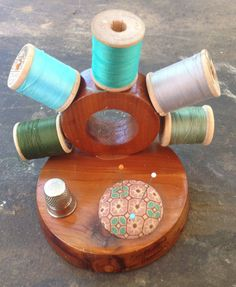 Vintage Pincushion and Sewing Supplies Holder by Giddies on Etsy