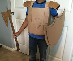 This half-made suit of armor is ready to do anything from saving a damsel in distress to pillaging a neighboring village. This suit is made of four parts:. Cardboard Costume, Cardboard Crafts, Recycled Costumes, Diy Costumes, Armor Of God, Suit Of Armor, Diy Knight Costume, Diy Medieval Costume, Diy For Kids