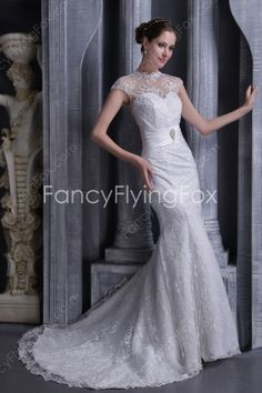 fancyflyingfox.com Offers High Quality Cap Sleeves A-line Full Length Lace Wedding Dresses With Illusion Neckline ,Priced At Only US$265.00 (Free Shipping)