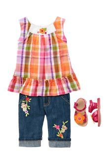 View Larger      Sunshine Baby Sunshine bright in a pretty plaid top and matching denim. Give her fashionable sandals fancied up with a flower for a sweet finish.