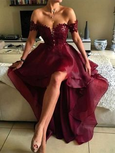 2017 Prom Dress, Hi-low Prom Dress, A-line Off-the-shoulder Prom Dresses, Asymmetrical Prom Dresses, Appliques Lace Backless Prom Dresses
