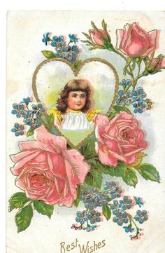 Art Nouvea Postcard Pink Roses Girl Child Best Wishes Greetings Posted #LoveRomance