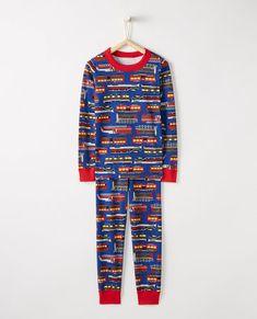 5f49ff6e9f8a6 Long John Pajamas In Organic Cotton in Full Steam Ahead II - main Family  Matching Pjs