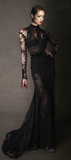 Tom Ford Fall/Winter 2011 Black Floral Chantilly Lace Evening Dress with Jet Detail