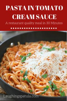Could You Eat Pizza With Sort Two Diabetic Issues? Pasta With Tomato Cream Sauce Is About The Easiest Tastiest Pasta That Ever Hit The Pan Comes Together In Just A Few Minutes With A Handful Of Ingredients And Has A Deep Rich Flavor. Best Pasta Recipes, Vegetarian Recipes, Dinner Recipes, Cooking Recipes, Healthy Recipes, Yummy Recipes, Dinner Ideas, Pasta Sauce Recipes, Cookbook Recipes