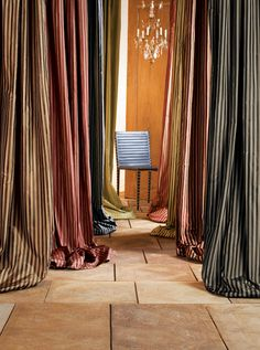 Stripes are big on the fashion scene in 2012 and even more popular in 2013 Cafe Curtains, Hanging Curtains, Custom Drapes, Custom Window Treatments, Curtain Designs, Home Decor Inspiration, Decor Styles, Windows, Luxury