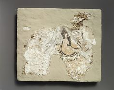 Fragment of wall painting: female with a mouth cover (padam) Sassanian, ca. A.D. 7th Century