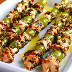 Grape and chicken kebabs
