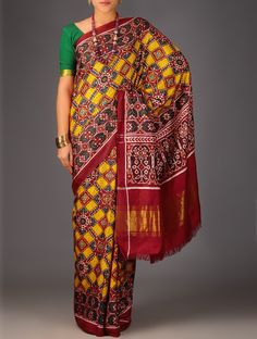 Red Yellow Green Double Ikat Patan Patola Silk Saree Accessories Scarves & Stoles Resplendent Legacy Sarees Dupattas in Single Online at Jaypore.com