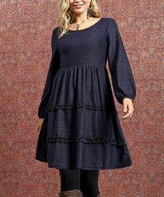 Reborn Collection Denim Blue Tiered-Ruffle Long-Sleeve Dress - Women & Plus Blue Denim, Ruffles, Cold Shoulder Dress, Feminine, Tunic, Dresses With Sleeves, Long Sleeve, Casual, Skirts