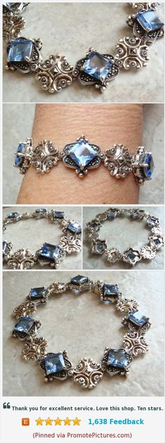 Marcasite Bracelet Synthetic Blue Spinel Princess Cut Sterling Silver Vintage #marcasitebracelet #bluespinel #sterlingsilver #princesscut https://www.etsy.com/cutterstone/listing/584438272/marcasite-bracelet-synthetic-blue-spinel?ref=shop_home_active_2  (Pinned using https://PromotePictures.com)