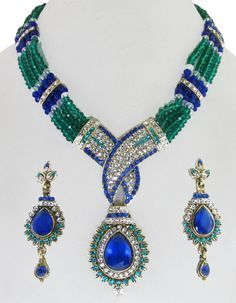 Shiny Royal Blue & Sea Green Beaded Necklace & Earrings Set