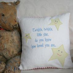 Nursery cushion twinkle twinkle little star by Elmtreetextiles, £39.95