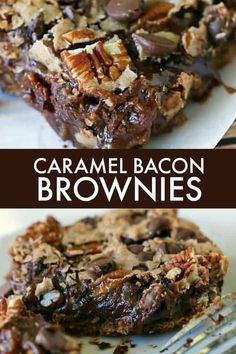 Caramel Bacon Brownies - Bacon for the win in this chocolatey treat! These Caramel Bacon Brownies are rich, sweet and easy to make. Bacon Brownies, Bacon Cake, Bacon Cookies, Caramel Brownies, Bacon Recipes, Brownie Recipes, Chocolate Recipes, Cookie Recipes, Dessert Recipes