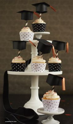 Graduation Cupcake Toppers and Wrappers No celebration is complete without some sweet treats! Celebrate your graduate in style with these adorable printable graduation cupcake toppers and wrappers Graduation Party Desserts, Graduation Cupcake Toppers, Graduation Party Planning, Graduation Decorations, Graduation Party Decor, College Graduation, Grad Parties, Graduation Gifts, Graduation Ideas