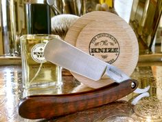"""Knize Ten shave soap and cologne, Hart Steel 6/8"""" straight razor, Rudy Vey badger brush, February 26, 2015.  ©Sarimento1"""