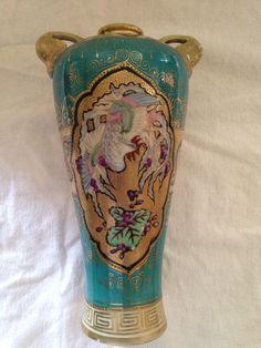 Antqiue Vase Nippon Maple Mark Hand Painted Art Deco Bird Vase Celadon Phoenix