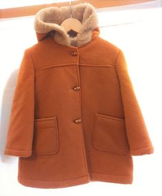 Manteau fille duffle-coat vintage laine camel par Jeanneetlouis