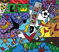 "Events In Pele's Life 2005 80"" x 90"" Acrylic on Canvas"