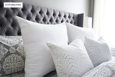 Create a curated bedroom using pattern, texture and mismatched furniture pieces for a collected look that reflects your individual style and personality. Grey Carpet Bedroom, Gray Bedroom, Mismatched Furniture, Carpet Styles, Bed Pillows, Pillow Cases, Create, Home, Trail