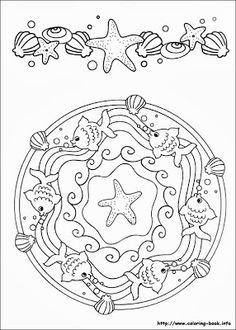 ☮ American Hippie Art ~ Color it Yourself . Seashore Mandala Make your world more colorful with free printable coloring pages from italks. Our free coloring pages for adults and kids. Mandala Coloring Pages, Coloring Book Pages, Printable Coloring Pages, Coloring Sheets, Coloring Pages For Kids, Free Coloring, Embroidery Patterns, Cross Stitch, Creative