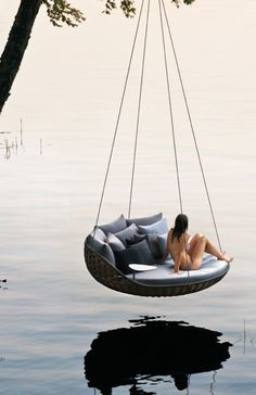 French designer Daniel Pouzet designed a hanging outdoor lounge chair, named 'swingrest', for Dedon. Images © Dedon With a basket-like aesthetic from 'nestrest'… Outdoor Lounge, Outdoor Spaces, Outdoor Living, Outdoor Beds, Outdoor Hammock, Backyard, Patio, Interior Exterior, The Great Outdoors