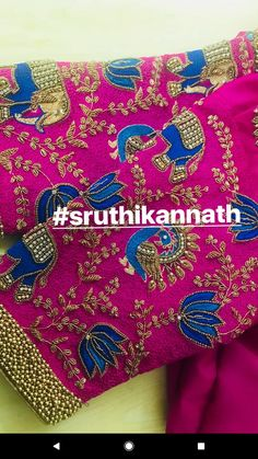 Silk Saree Blouse Designs, Saree Blouse Patterns, Designer Blouse Patterns, Bridal Blouse Designs, Embroidery Works, Embroidery Designs, Hand Work Blouse, Maggam Work Designs, Elephant Design
