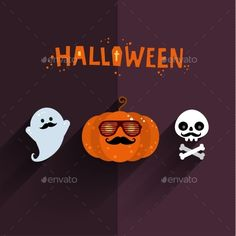 Halloween illustration. Poster, flyer, banner or background for Halloween Party Night. Flat design, vector illustration.