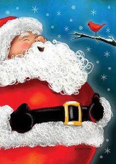 Santa singing with the cardinal.