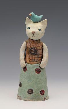 ceramic figure cat meow by Sara Swink