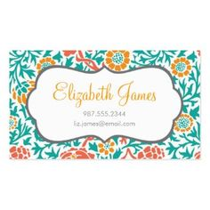 Teal Coral and Orange Retro Floral Damask Double-Sided Standard Business Cards (Pack Of 100)
