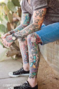 Clint…and Lulu; Austin Lifestyle Photographer » Twinty Photography Blog | tattoos | male with tattoos | leg tattoos | arm sleeve tattoos | rock star | drummer | headshots | South Congress portraits | Austin lifestyle photographer