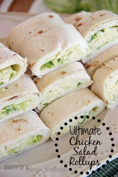 Ultimate Chicken Salad Pinwheels _ These are not your average chicken salad wraps. They are filled with whipped cream cheese, shredded lettuce, & provolone cheese. They really are the ultimate chicken salad rollups! Recipe Collector, Healthy Snacks, Healthy Recipes, Salad Wraps, Chicken Salad, Soy Chicken, Chicken Wraps, Chicken Sandwich, Appetizer Recipes