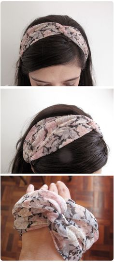 floral chiffon twisted headband:  how to make: http://www.honeybeevintage.com/2012/04/diy-twisted-turban-headband-from-old-t.html and another: http://www.sugarbeecrafts.com/2011/08/knotted-headband-with-tshirt-yarn.html
