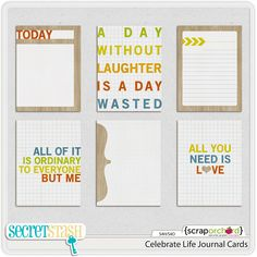 Celebrate Life journal cards freebie from Secret Stash