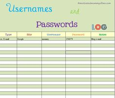 What was that password again??? and Free Printable