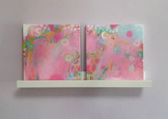 Set of Two Pink and Mint Paintings Girl's Room Decor Pink Nursery Decor Original…