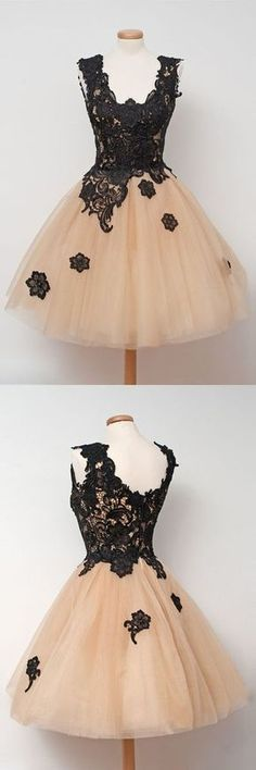 New arrival Sexy Homecoming Dress, Black Lace Prom Dress , Tulle Sleeveless evening gowns with Appliques