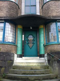 Green art deco door, Brussels